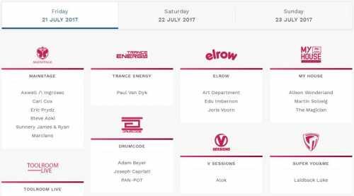 Tomorrowland, Boom - LINEUP DJs 2017