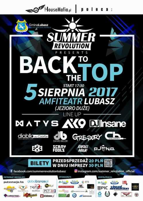 Summer Revolution (Lubasz) - DJ CONTEST & BACK TO THE TOP (5.08.17) - kluby, festiwale, plenery, klubowa muza, disco polo