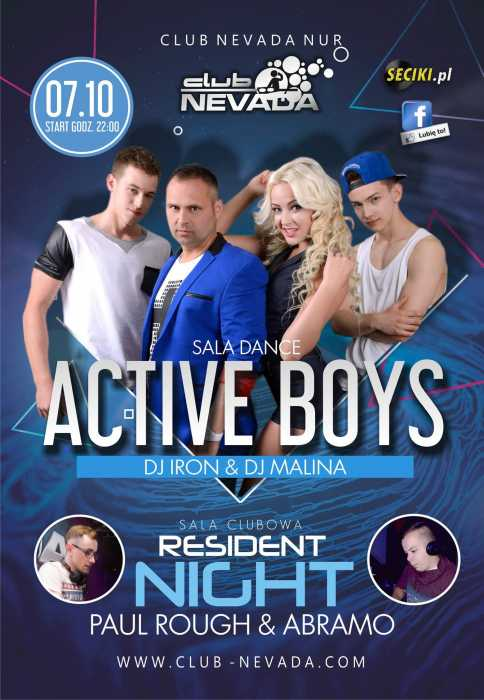 Nevada (Nur) - Active Boys & Resident Night (7.10.2017) - kluby, festiwale, plenery, klubowa muza, disco polo
